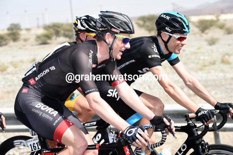 Sam Bennett and Phillip Deignan in the 2015 Tour of Oman