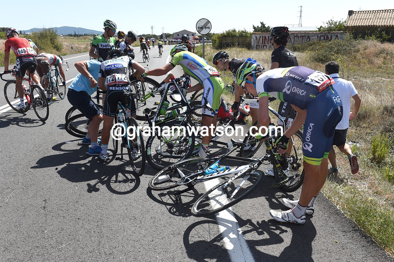 Sam Bewley is in a crash on stage eleven of the 2014 Tour of Spain