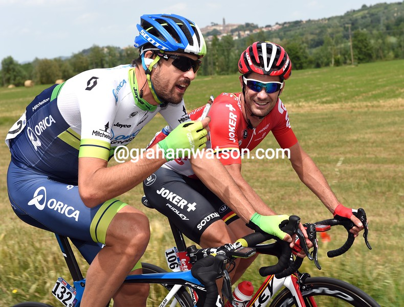 Sam Bewley and Greg Henderson on stage six of the 2015 Tour of Italy