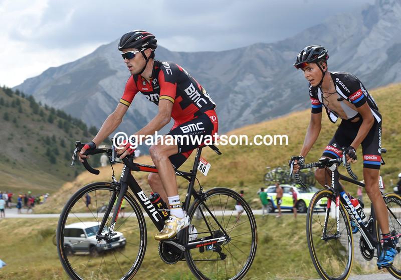 Sammy Sanchez and Warren Barguil on stage seventeen of the 2015 Tour de France