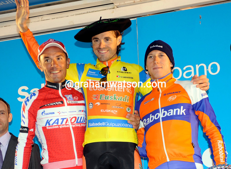 Joaquim Rodriguez Oliver, Samuel Sanchez Gonzalez and Bauke Mollema on the podium after the final stage of the 2012 Tour of the Basque Country