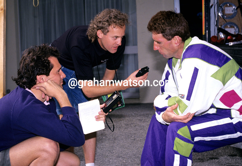 Sean Kelly talks to the media after quitting the 1991 Tour de France with illness