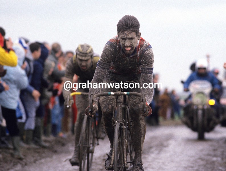 Sean Kelly in the 1985 Paris-Roubaix