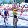 Serguei Outschakov wins a stage of the 1995 Tour de France ahead of Lance Armstrong