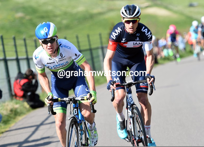 Simon Clarke and David Tanner escape in the 2015 Amstel Gold Race
