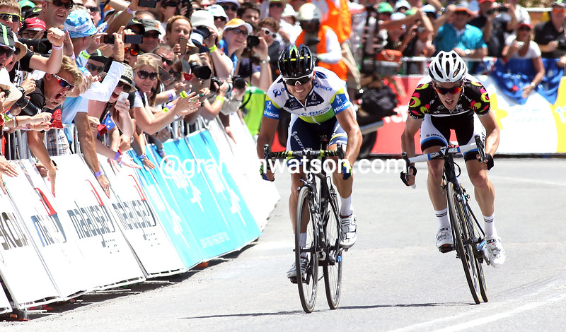 Simon Gerrans and Tom-Jelte Slagter sprint on stage five of the 2013 Tour Down Under
