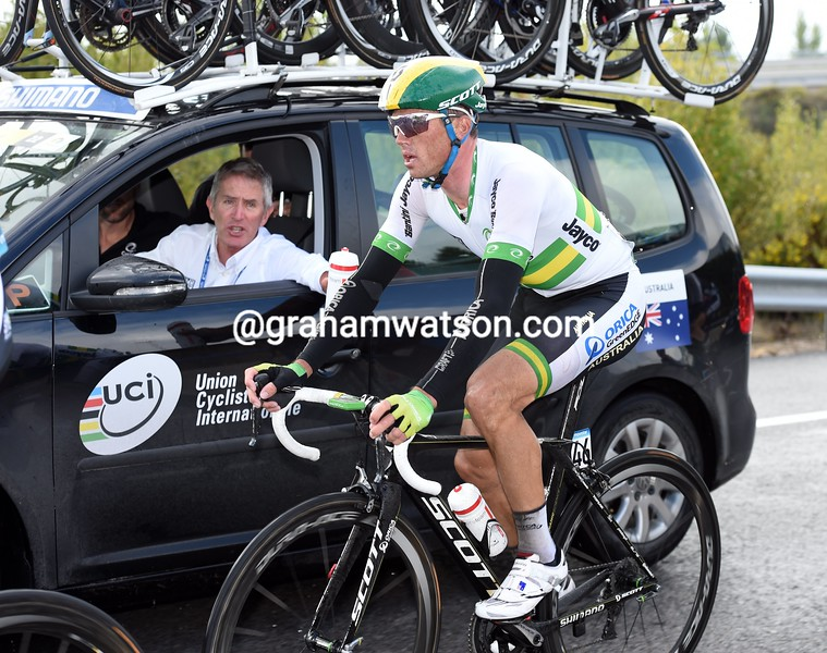 Simon Gerrans in the road race at the 2014 World Road Championships