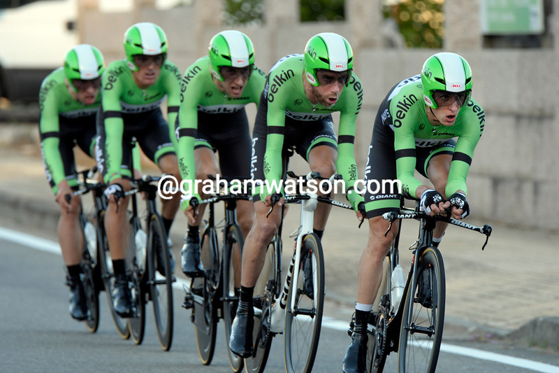 Belkin, led here by Stef Clement, in the 2013 Vuelta a España