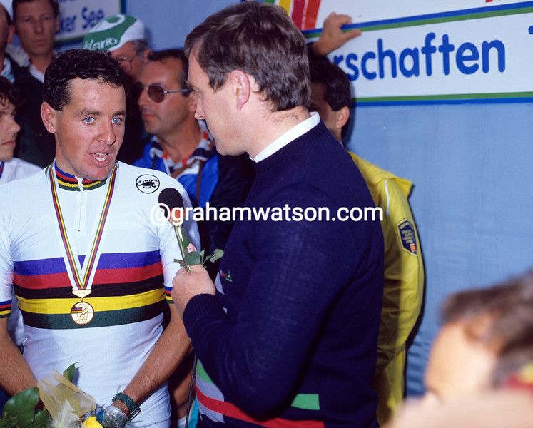 STEPHEN ROCHE WITH PAT MCQUAID AFTER WINNING THE 1987 WORLD CHAMPIONSHIPS