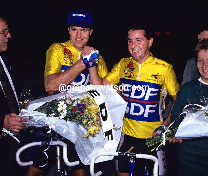 Stephen Roche and Tony Doyle at the 1986 Paris 6-Day event