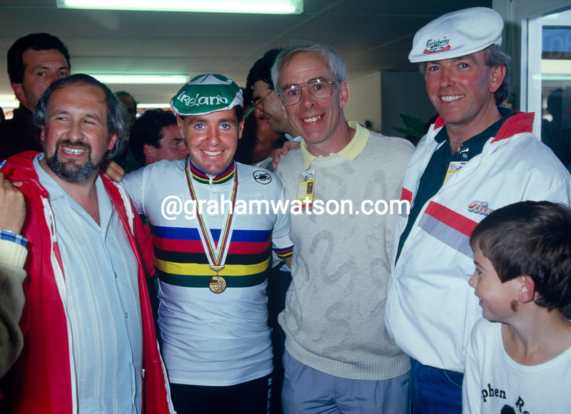 Stephen Roche after winning the 1987 World Championship