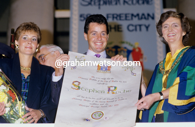 Stephen Roche recieves the freedom of Dublin city after winning the 1987 Giro d'Italia, Tour de France and World Championship