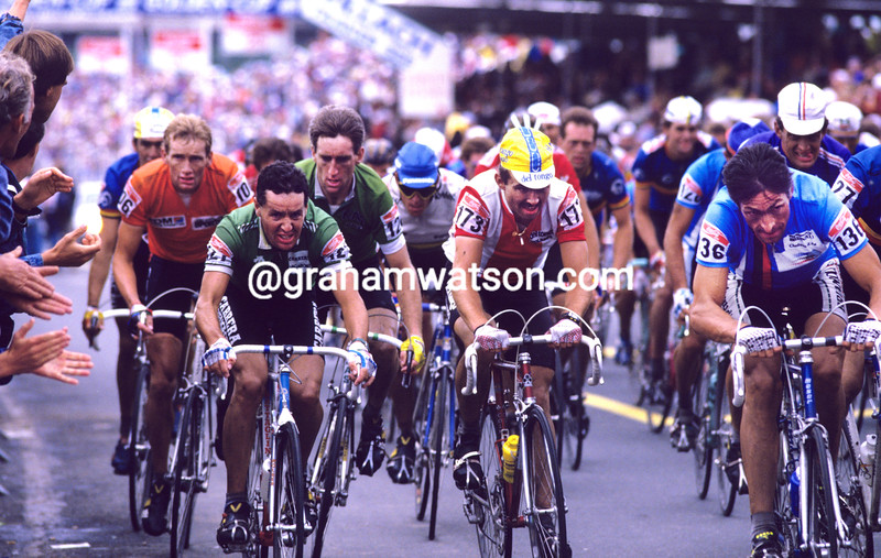 Stephen Roche and Sean Kelly with Francesco Moser in the 1987 World Road Championship