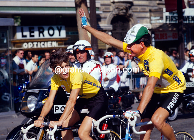 Stephen Roche and Jeannie Longo in the 1987 Tour de France