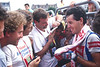 Stephen Roche talks to the Irish media in the 1987 Tour de France