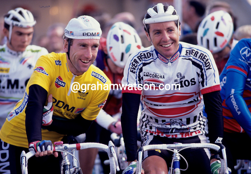 Sean Kelly and Stephen Roche in the 1991 NIssan Classic