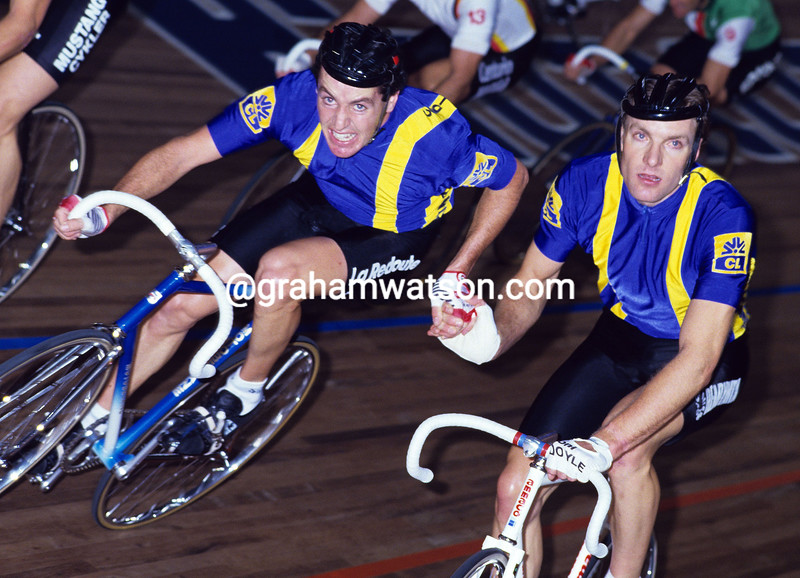 STEPHEN ROCHE IN THE 1986 PARIS 6-DAY RACE WITH TONY DOYLE