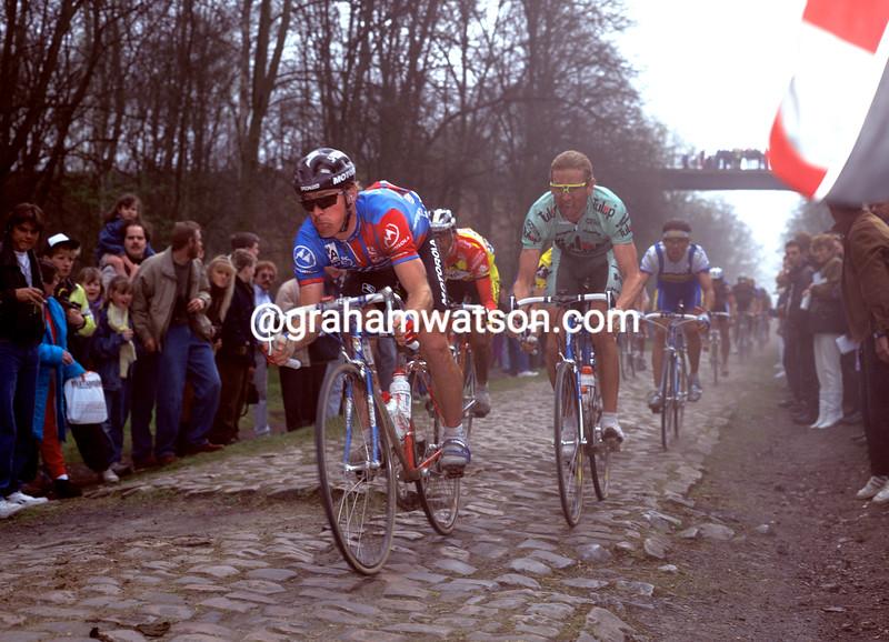 Steve Bauer in the 1991 Paris-Roubaix
