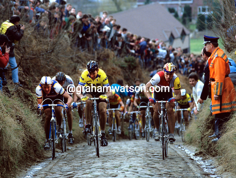 Steve Bauer with Sean Kelly and Eric Vanderaerden in the 1987 Tour of Flanders