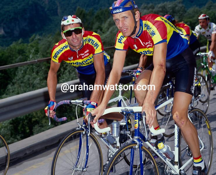 Steven Rooks and Allan Peiper in the 1990 Giro d'Italia