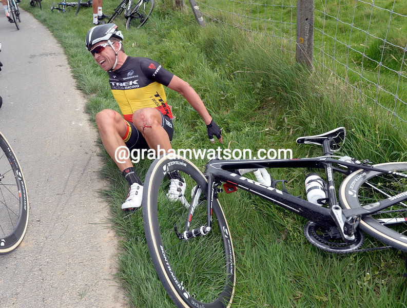 Stijn Devolder crashes in the 2014 Tour of Flanders