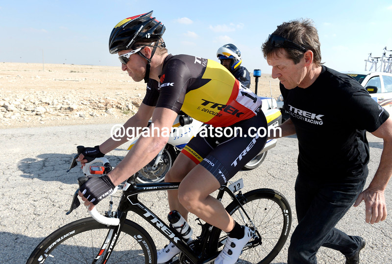 Stijn Devolder after a crash on stage two of the 2014 Tour of Qatar