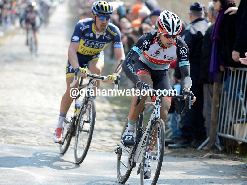 Stijn Devolder in action during the 2013 Paris Roubaix