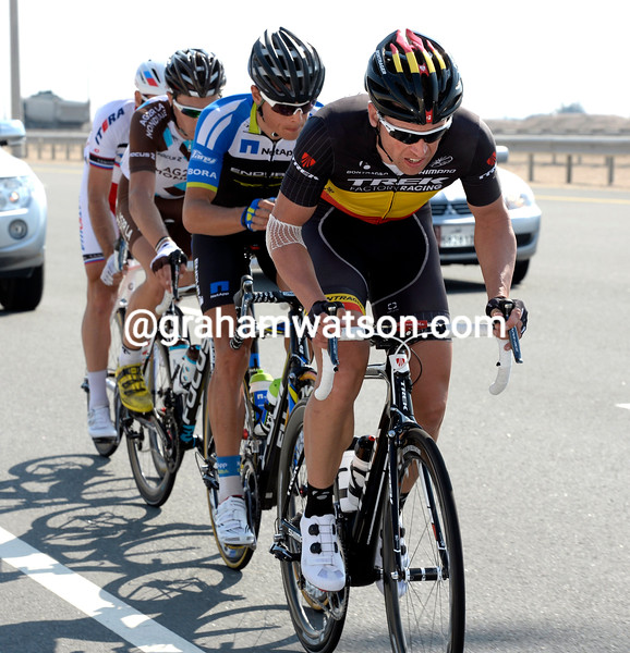 Stijn Devolder leads an escape on stage five of the 2014 Tour of Qatar