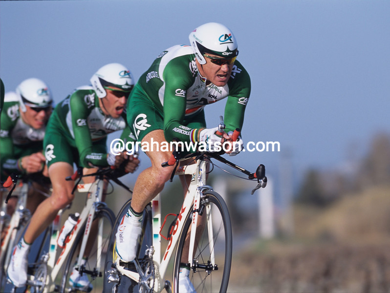 Stuart O'Grady leads Credit Agricole in the 1998 Tour Mediterranean