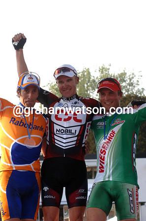 STUART O'GRADY, JUAN ANTONIO FLECHA AND STEFFAN WESEMANN AFTER PARIS-ROUBAIX