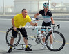 STUART O'GRADY MAKES A WHEEL CHANGE ON STAGE THREE OF THE 2011 TOUR OF QATAR