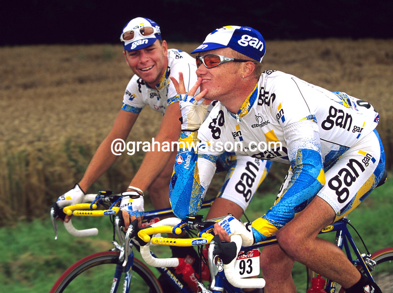 STUART O'GRADY AND HENK VOGELS ON A STAGE OF THE 1997 TOUR DE FRANCE