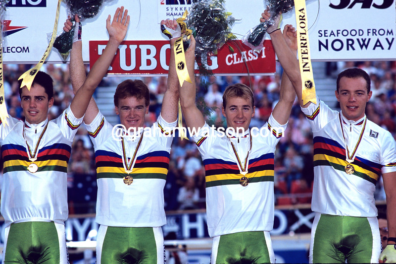 Stuart O'Grady celebrates winning the Gold medal with Australia in the 1993 World Championships