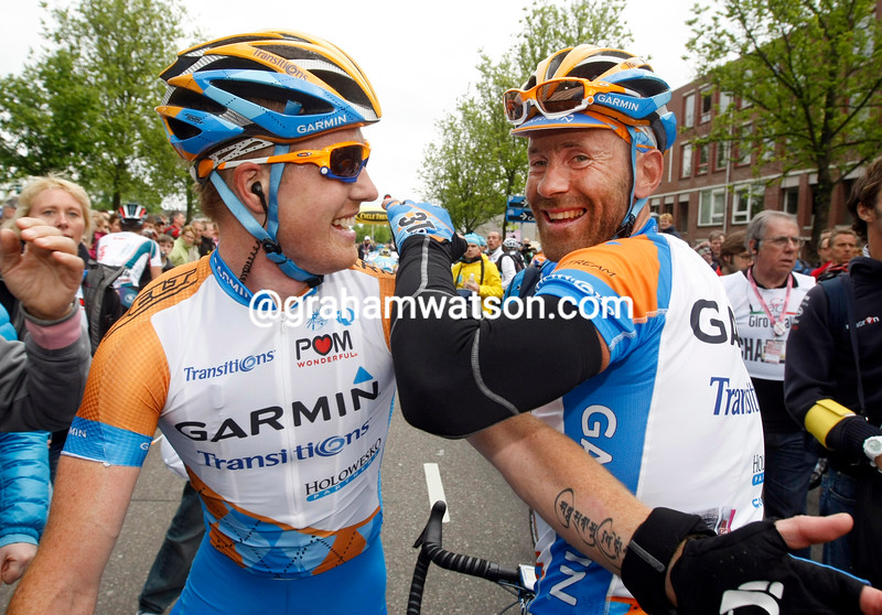 SVEIN TUFT AND TYLER FARRAR AFTER STAGE TWO OF THE 2010 GIRO D'ITALIA