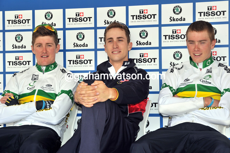 TAYLOR PHINNEY WITH MARCEL KITTEL (RIGHT) AND LUKE DURBRIDGE AFTER WINNING THE 2010 U-23 WORLD TIME TRIAL CHAMPIONSHIP