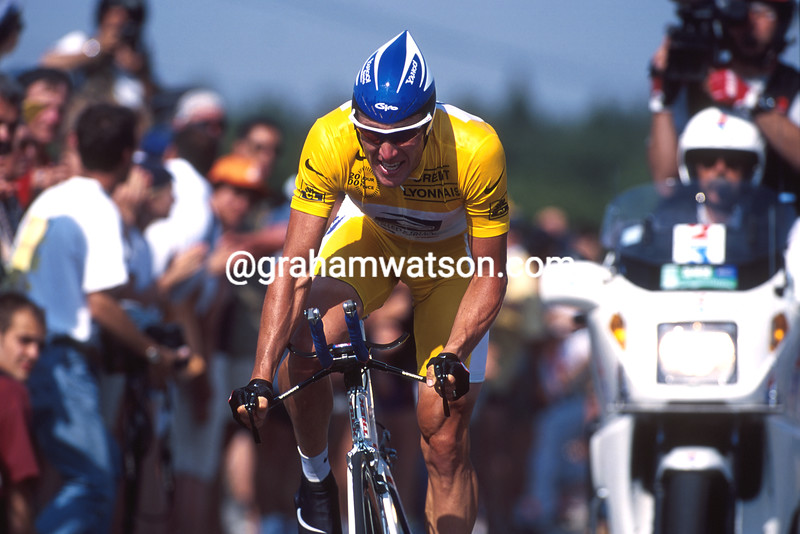 Lance Armstrong in a time trial stage of the 2000 Tour de France