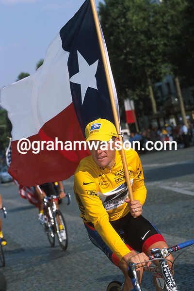 Lance Armstrong after winning the 2001 Tour de France