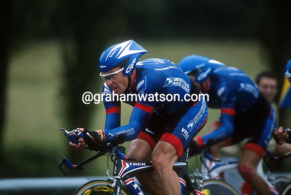 Lance Armstrong leads the US Postal team in the 2002 Tour de France
