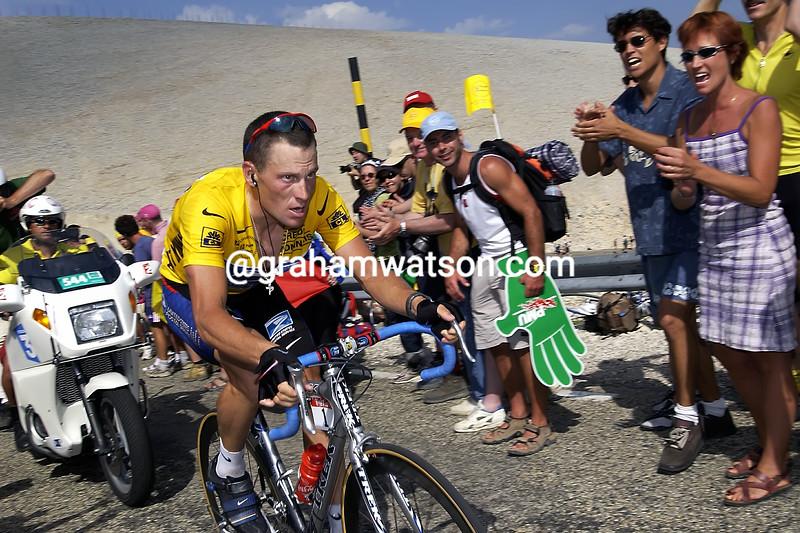 Lance Armstrong climbs Mont Ventoux in the 2002 Tour de France