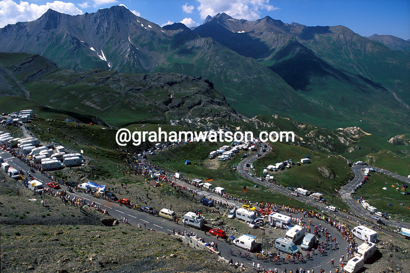 The 2003 Tour de France climbs the Col du Galibier