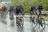 The US Postal team leads the 2004 Tour on a rainy stage to Orleans