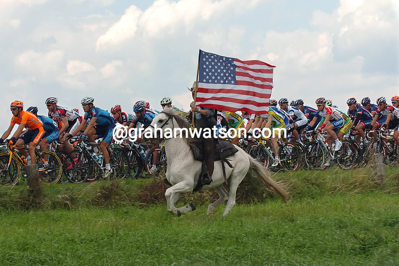 A horseman salutes the 2004 Tour de France in Belgium
