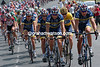 The US Postal team leads on the final stage into Paris in 2004