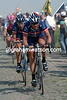 Lance Armstrong leads the 2004 Tour de France over the cobblestones on stage three