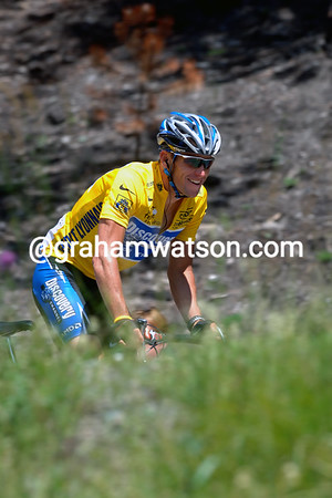 Lance Armstrong smiles openly during a stage of the 2005 Tour de France