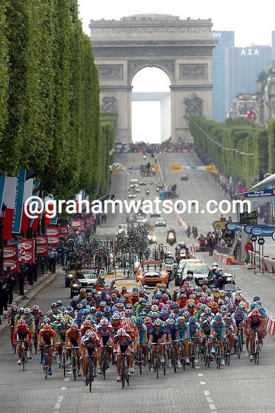 The 2005 Tour de France on the Champs Elysees in Paris