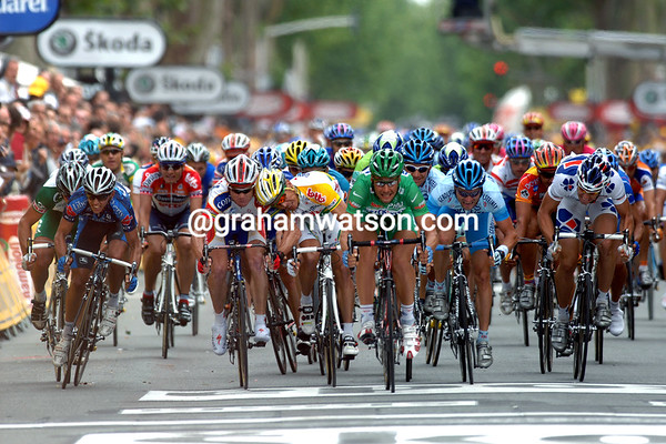 Robbie McEwen and Stuart O'Grady lock horns in a sprint behind winner Tom Boonen on Stage 3 of the 2005 Tour de France