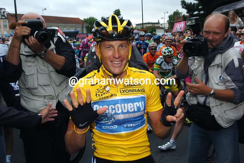 Lance Armstrong celebrates winning a seventh Tour de France in 2005