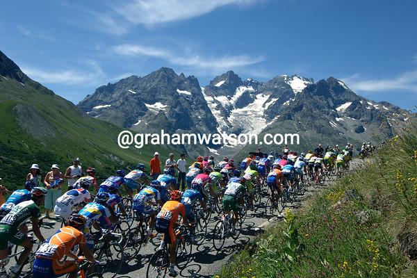 The 2006 Tour de France climbs the Col du Galibier on stage 16 to La Toussuire