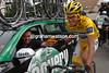 Alberto Contador celebrates winning the 2007 Tour de France with Johan Bruyneel